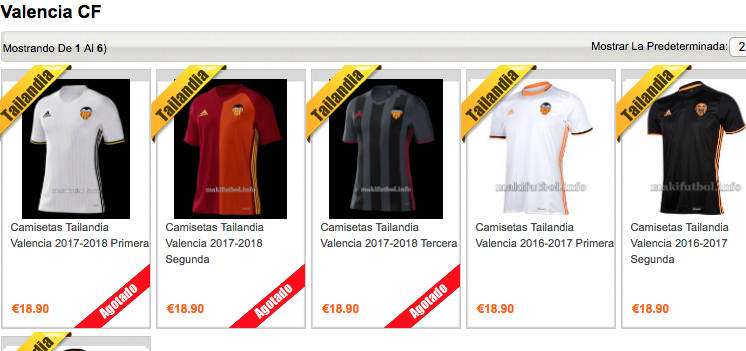 equipacion Valencia CF en venta